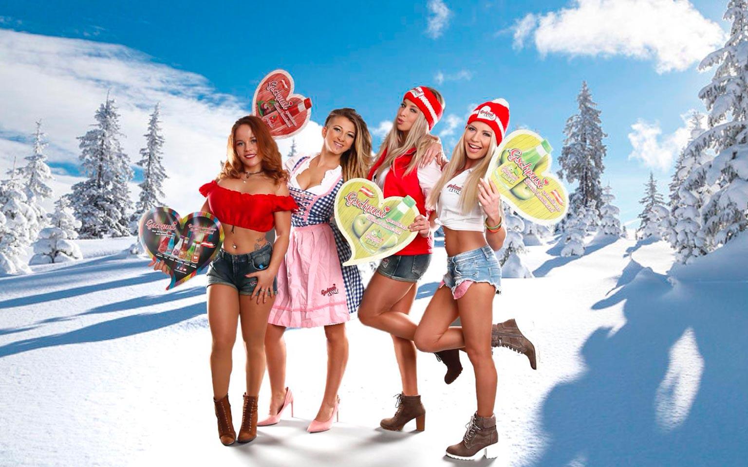 Künstler im Schnee mit Gspusi Aktion Thema Apres Ski